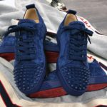 Louboutin Low Top Blue Suede with Spikes on the front
